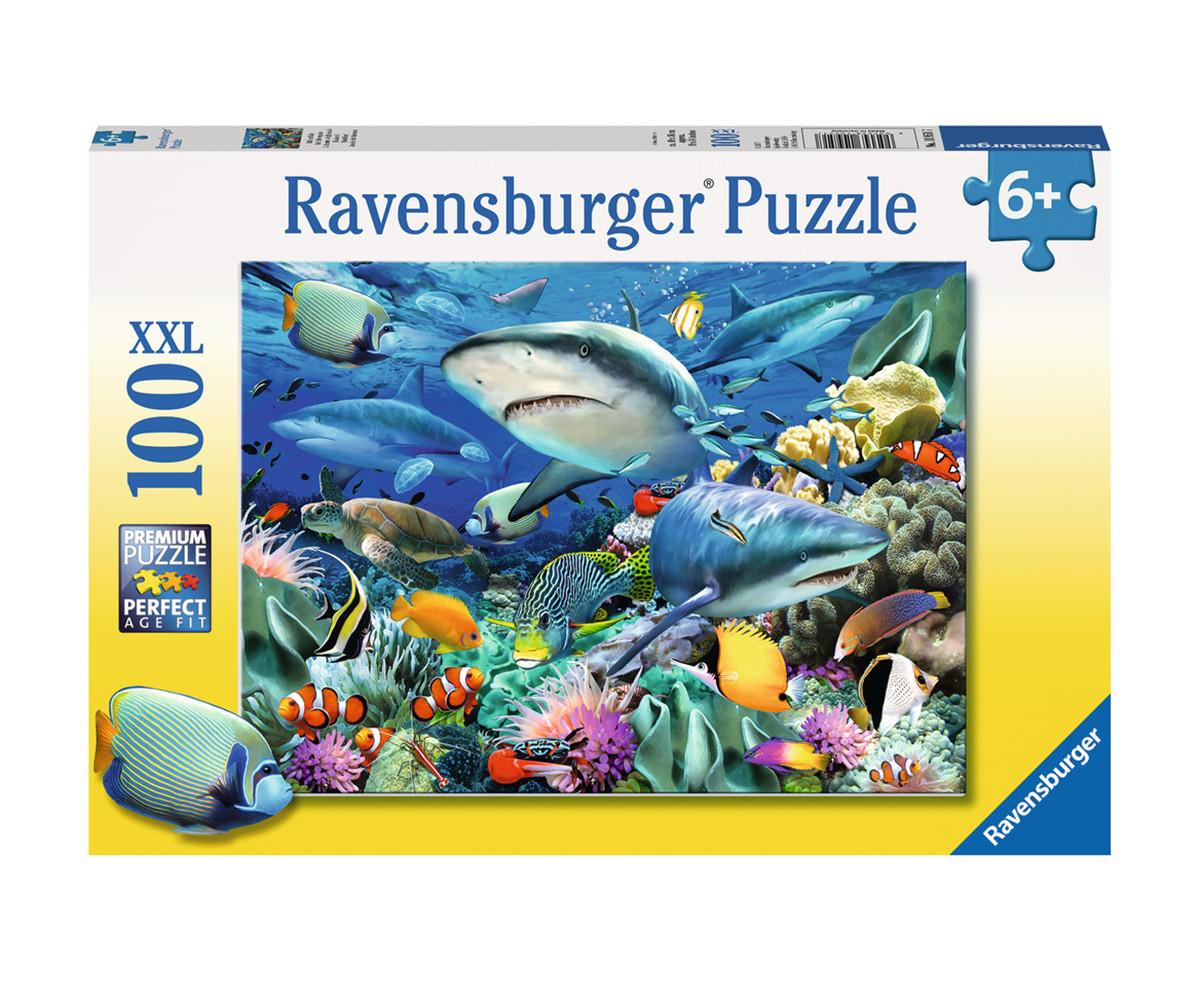 Детски пъзел Ravensburger 100 ел. XXL - Акуловият риф