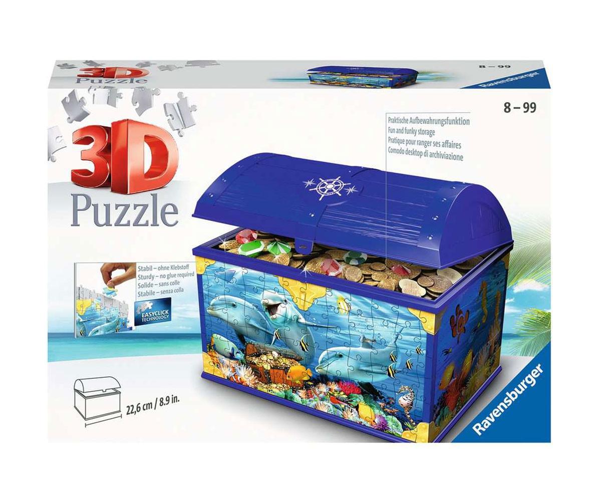 3D пъзел за деца Ravensburger 216 части - Кутия със съкровища: Подводен свят