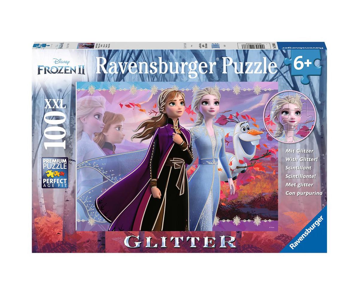 Детски пъзел Ravensburger с брокат 100 ел. XXL - Замръзналото кралство 2 - Силни сестри