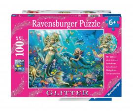 Ravensburger 12872 - детски пъзел с брокат 100 ел. XXL - Подводни красавици
