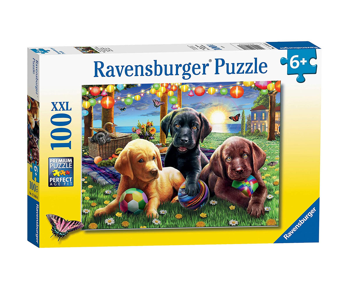 Пъзел за деца Ravensburger 100 ел. XXL - Кучешки пикник
