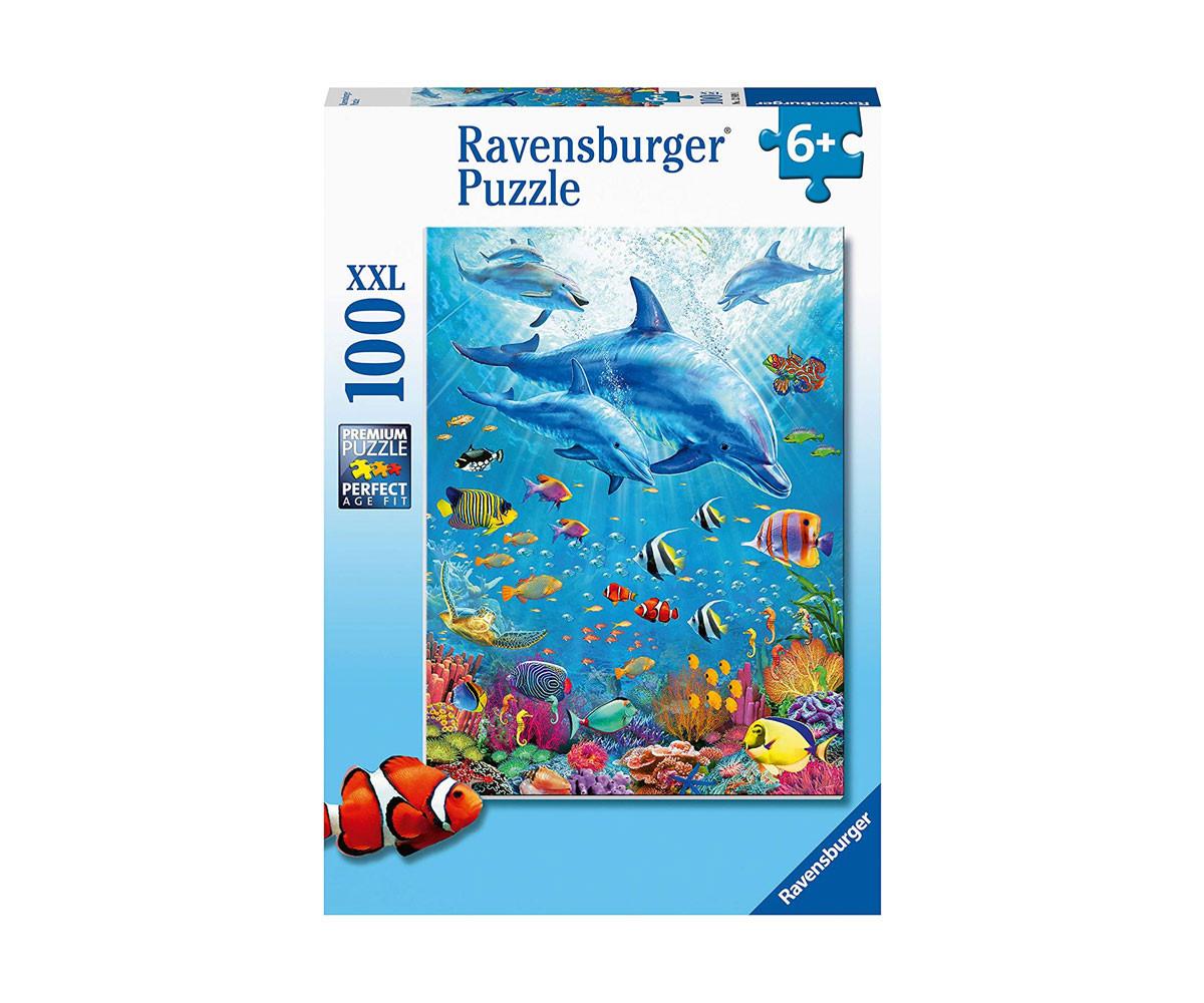 Пъзел за деца и възрастни Ravensburger 100 части XXL - Делфини