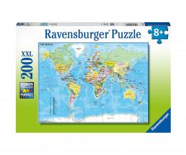 Детски пъзел Ravensburger 200 ел. XXL - Световна карта