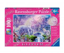 Детски пъзел Ravensburger с брокат 100 ел. - Царство на еднорозите