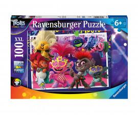 Детски пъзел Ravensburger 100 ел. XXL - Троловете Световно турне - любимите ни песни