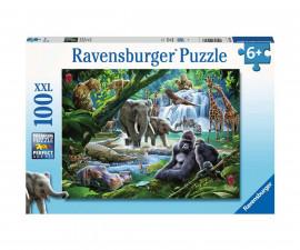 Ravensburger 12970 - Детски пъзел 100 ел. ХХL - Животни в джунглата