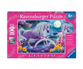 Ravensburger 12980 - детски пъзел с брокат 100 ел. XXL - Фантастични еднорози