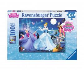 Ravensburger 13671 - детски пъзел с брокат 100 ел. XXL - Очарователна Пепеляшка