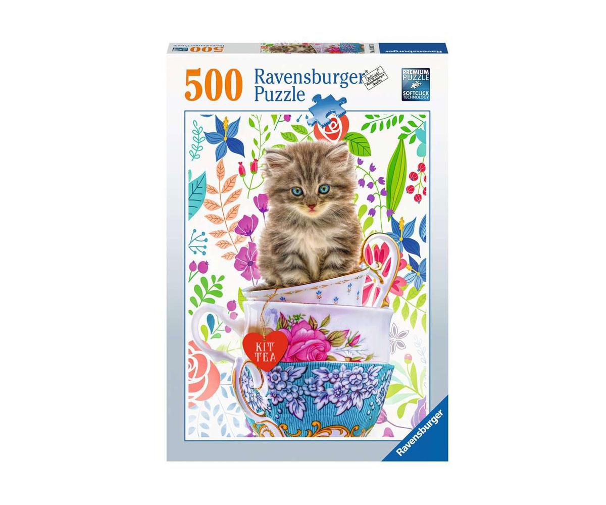 Пъзел за деца и възрастни Ravensburger 500 части - Коте в чашка