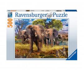 Пъзел за възрастни Ravensburger 500 ел. - Семейство слонове