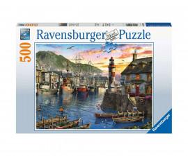 Пъзел за деца и възрастни Ravensburger 500 части - Изгрев на пристанището