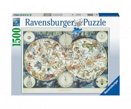 Пъзел за възрастни Ravensburger 1500 ел. - Световна карта на фантастичните зверове