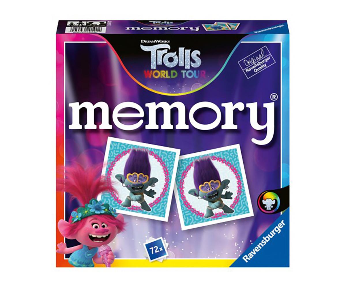 Детска настолна игра мемори Ravensburger 72 карти - Тролчетата 2: Турнето