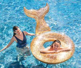 детски надуваем пояс за плуване опашка на русалка с брокат Интекс