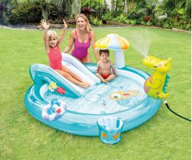 детски надуваем център за игра с пързалка Алигатор Интекс