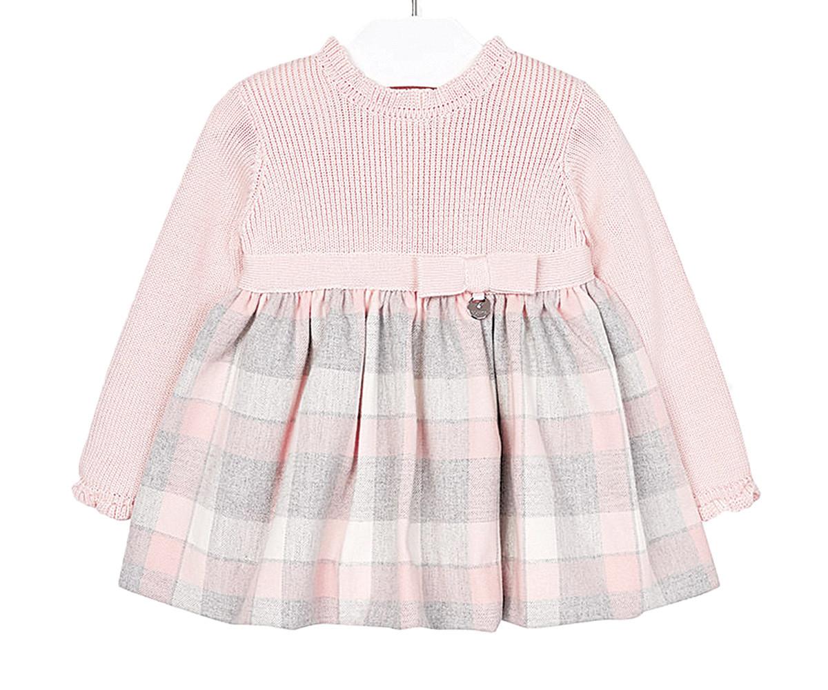 a3984a32f73 Плетена рокля с дълъг ръкав Mayoral, розово-сива, момиче, 6-36 м ...