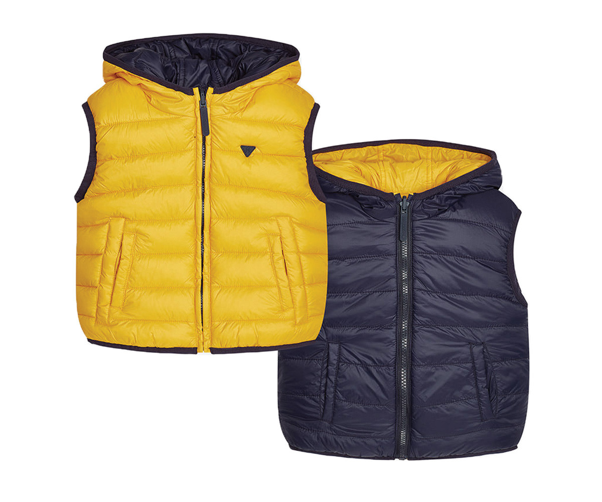 75931c42b79 Двулицев елек с качулка Mayoral, жълто-синьо, момче, 2-9 г. | КОМСЕД