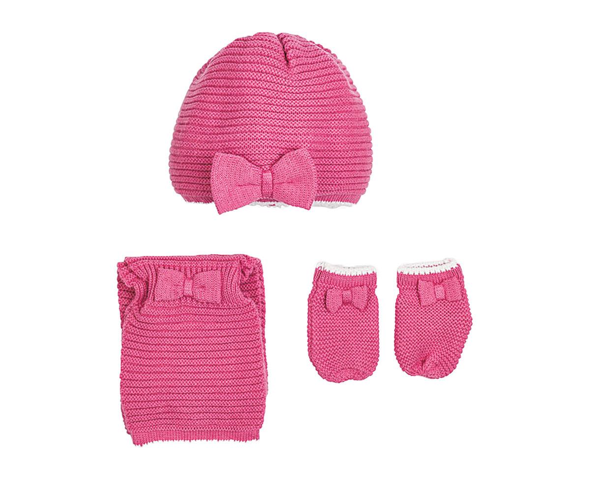 608948f11fc Комплект зимни шапка, шал и ръкавици Mayoral, розови, момиче, 3-12 м ...