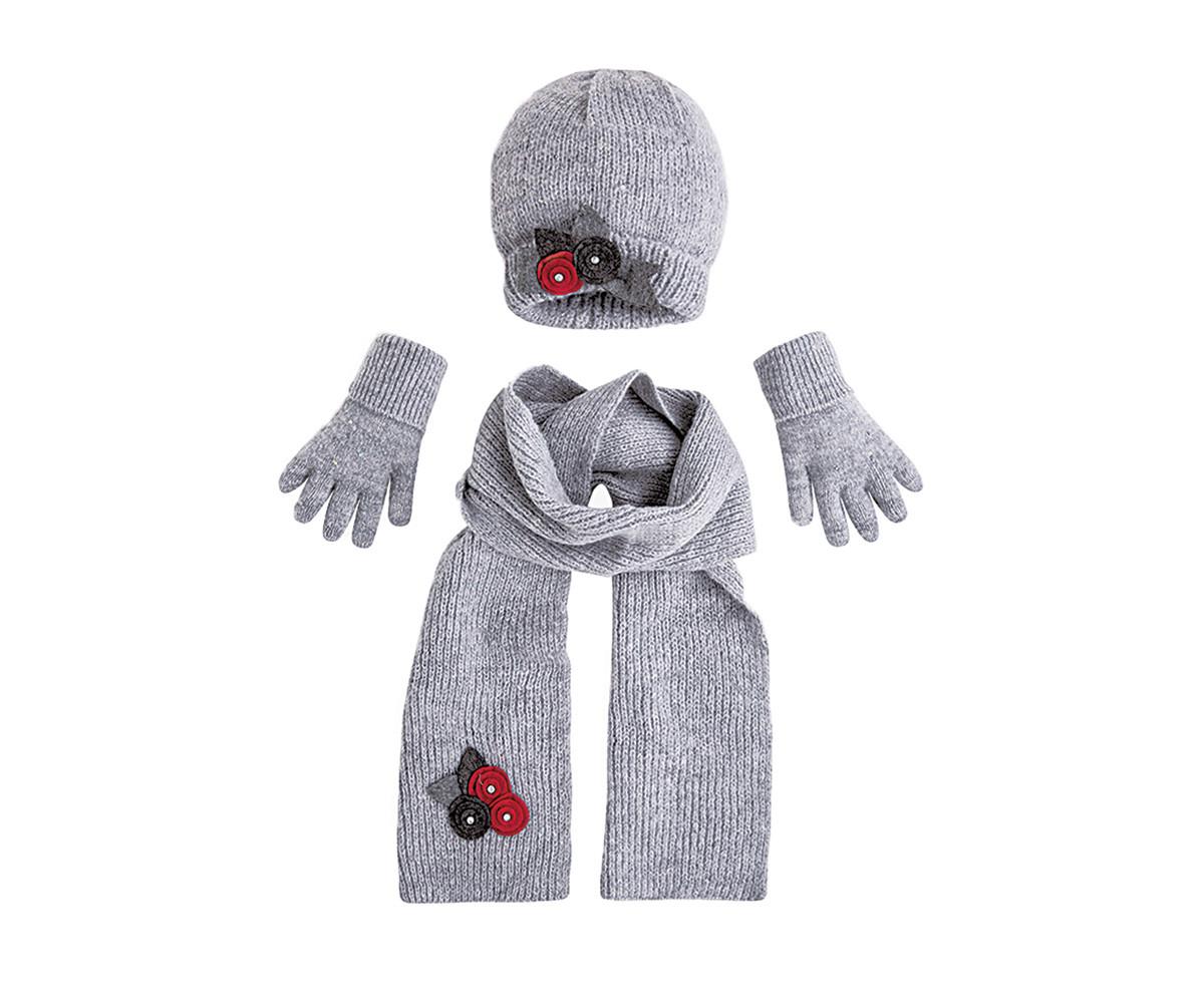 06d956fc8ba Комплект зимни шапка, шал и ръкавици с апликации Mayoral, сиви, момиче, 2-9  г.