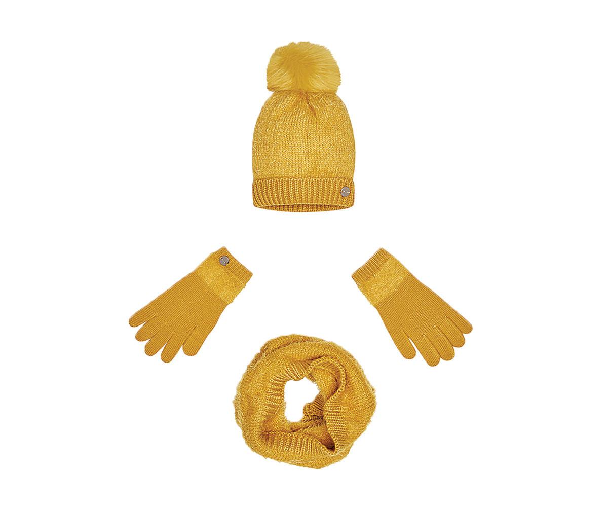 717e64563ff Комплект зимни шапка с пискюл, шал и ръкавици Mayoral, жълти, момиче,  размер S-L