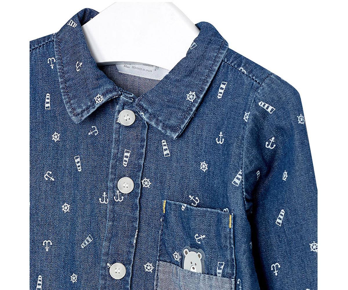 80bb43d6a91 Детска дънкова риза с дълъг ръкав за момче Mayoral W18-02106-05, 0-1 ...