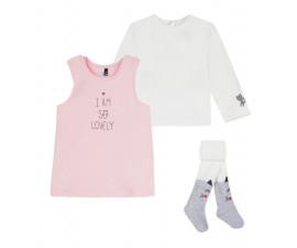 Детски комплект рокля, блуза и чорапогащник 3Pommes 3P36010-300, за момиче на възраст 0-6 м.