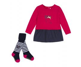Детски комплект рокля и чорапогащник 3Pommes 3P36040-449, за момиче на възраст 1-9 м.