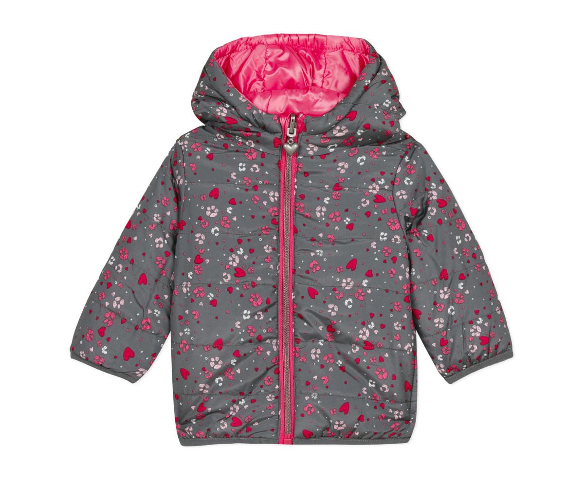 Детско двулицево яке с качулка и цип 3Pommes 3P41012-323, за момиче на възраст 6 м. - 4 г.