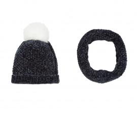 Детска шапка и шал 3Pommes 3P90014-485, за момиче на възраст 4-12 г.
