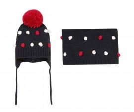 Детска шапка и шал 3Pommes 3R90012-49, момиче, 18 м.-4 г.