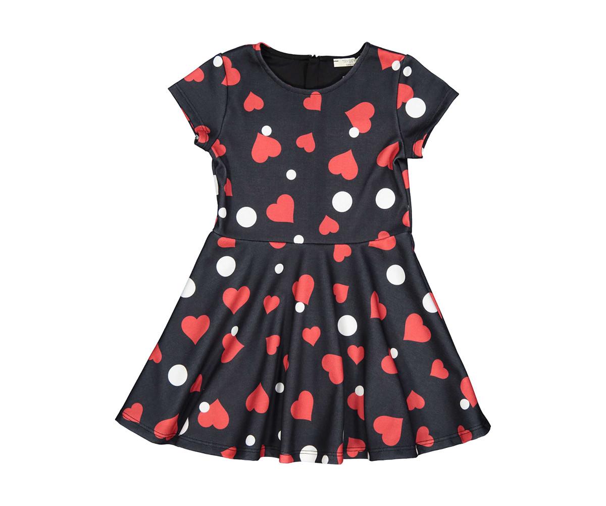 Детска рокля с къс ръкав Трибеонд 95585-90Z, за възраст 3-9 г.