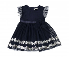 Детска тюлена рокля с къс ръкав Бирба 95310-70M, за възраст 12-30 м.
