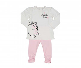 Детски комплект блуза с панталон Birba Everyday Lovely Pink 39023-10E за момиче, 6-30 м.