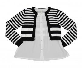 Детска трикотажна жилетка с блуза Trybeyond Black Style 36783-90Z, момиче, 3-12 г.