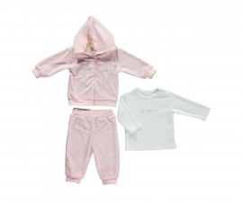 бебешки комплект суитшърт с качулка, блуза и панталон Family Love, марка Bebetto, фабр.№ K2782, момиче, 3-18 м.