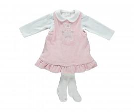 бебешки комплект плюшени рокля с блуза и чорапогащник Family Love, марка Bebetto, фабр.№ K2784, момиче, 3-18 м.