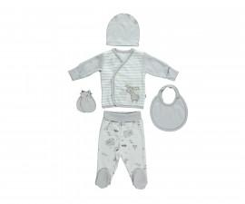бебешки комплект 5 части Free Animal, марка Bebetto, фабр.№ Z674, унисекс, 0-3 м.