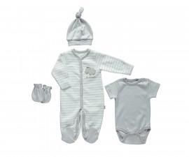 бебешки комплект 4 части Free Animal, марка Bebetto, фабр.№ Z675, унисекс, 0-3 м.