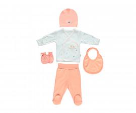 бебешки комплект 5 части Happy Cloud, марка Bebetto, фабр.№ Z687, момиче, 0-3 м.