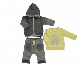 бебешки комплект суитшърт с качулка, блуза и панталон Good Luck, марка Bebetto, фабр.№ K2795, момче, 9-12 м.