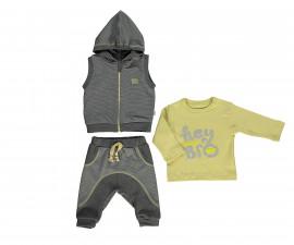 бебешки комплект елек с качулка, блуза и панталон Good Luck, марка Bebetto, фабр.№ K2796, момче, 6-24 м.