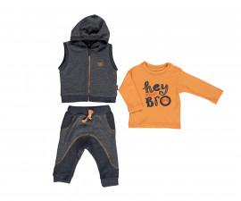 бебешки комплект елек с качулка, блуза и панталон Good Luck, марка Bebetto, фабр.№ K2796b, момче, 6-9 м.