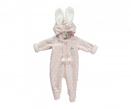 ватиран бебешки гащеризон с качулка и цип Baby Bunny, марка Bebetto, фабр.№ K2755, момиче, 3-9 м.