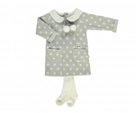 бебешки комплект рокля с чорапогащник Baby Bunny, марка Bebetto, фабр.№ K2757g, момиче, 6-24 м.