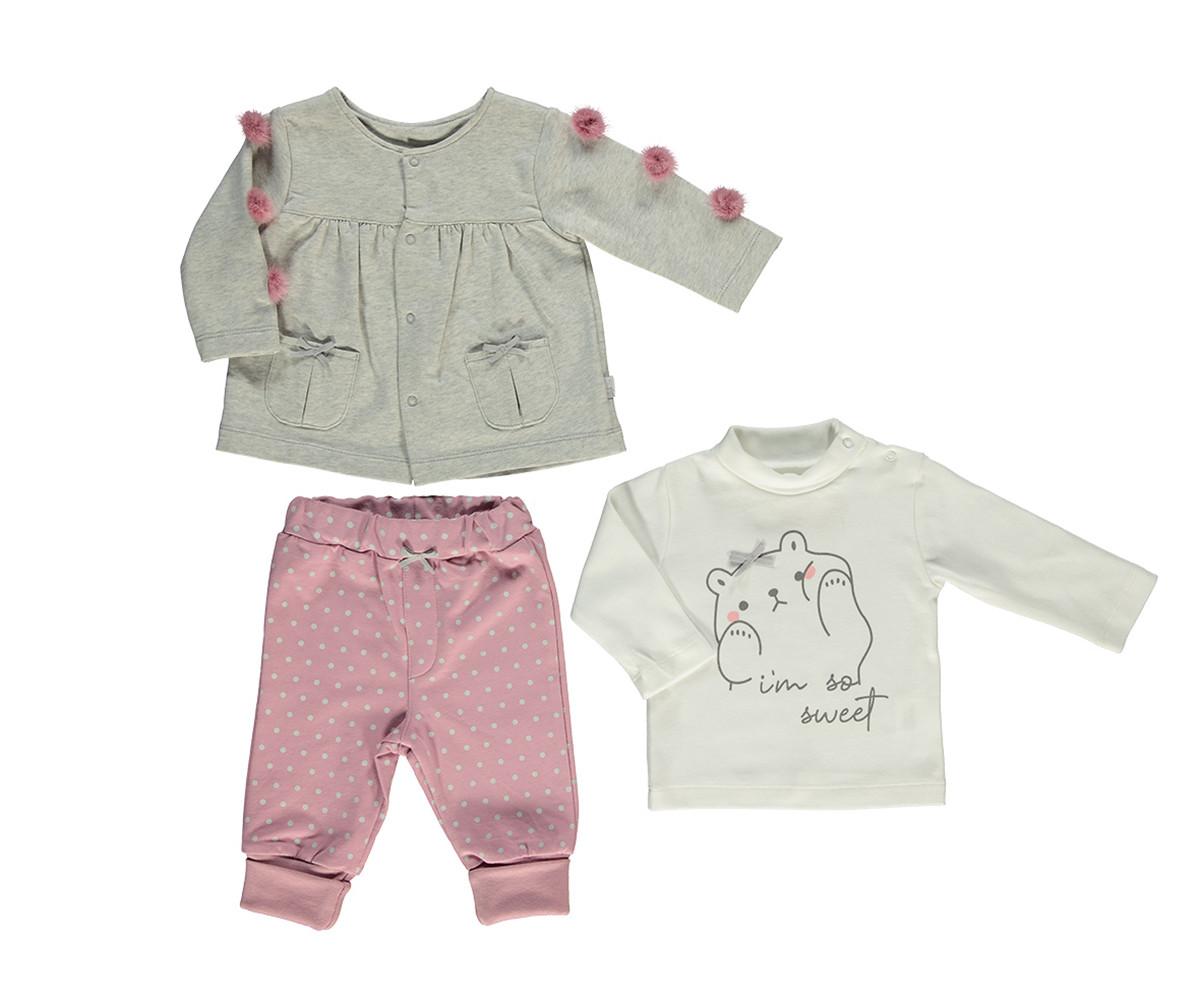бебешки комплект жилетка, блуза и панталон So Sweety, марка Bebetto, фабр.№ K2694, момиче, 6-24 м.