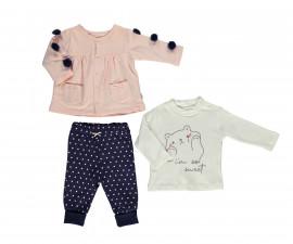бебешки комплект жилетка, блуза и панталон So Sweety, марка Bebetto, фабр.№ K2694b, момиче, 6-24 м.