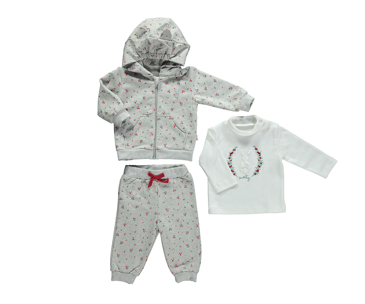 бебешки комплект суитшърт, блуза и панталон Sweety, марка Bebetto, фабр.№ K2764, момиче, 3-24 м.
