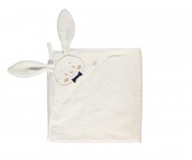 Bebetto Gentleman Rabbit Woven Baby Bathtowel With Hood - H411