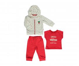 Bebetto Miss Cherry Cotton Baby 3 Pcs Set (Cardigan+T-Shirt+Pants) - K2969