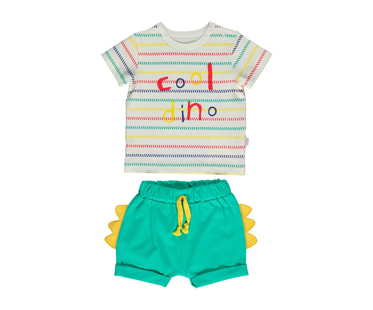Bebetto Cool Dino Cotton Baby 2 Pcs Set (T-Shirt+Short Pants) - K3057